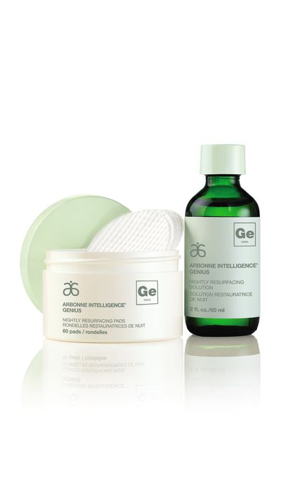 """<p><a href=""""http://www.arbonne.com/pws/homeoffice/tabs/home.aspx"""" target=""""_blank"""">Intelligence Genius Nightly Resurfacing Pads & Solution, $137, Arbonne</a></p>"""