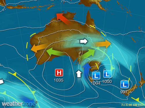 A complex low pressure system is generating strong, cold winds, showers and snow to Victoria, Tasmania and New South Wales. (Weatherzone)