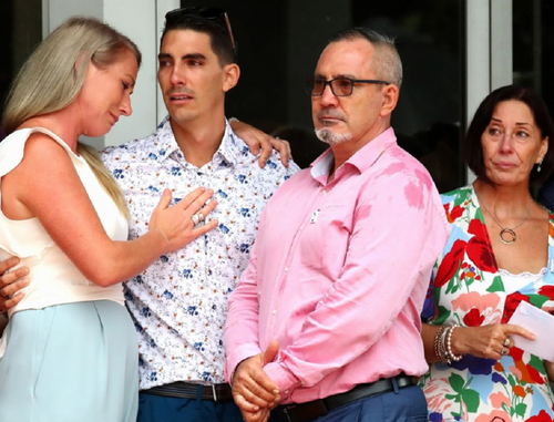 Hannah Clarke's family at the funeral.