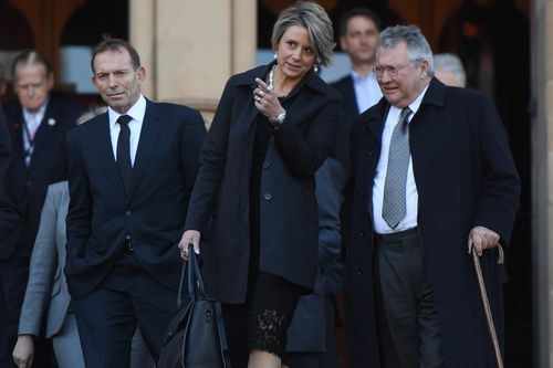 Former prime minister Tony Abbott, former NSW Premier Kristina Keneally and former NSW Treasurer Michael Egan. (AAP)