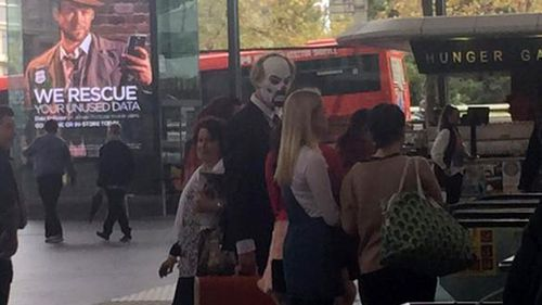 The 'clown' frightened commuters on a Melbourne train line. (Supplied)