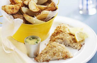 """<a href=""""http://kitchen.nine.com.au/2016/05/17/14/36/coconut-fish-and-chips-with-lemon-coriander-mayo"""" target=""""_top"""">Coconut fish and chips with lemon coriander mayo</a><br /> <br /> <a href=""""http://kitchen.nine.com.au/2016/12/09/10/08/best-ever-fish-and-chips-recipes-beer-battered-grilled-and-healthy-versions """" target=""""_top"""">More fish and chips recipes</a>"""