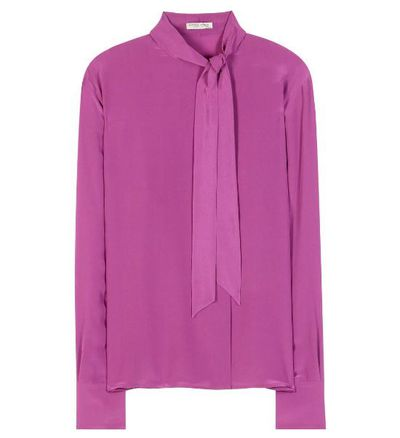 "Bottega Veneta pussy-bow blouse in silk, $980, <a href=""http://www.mytheresa.com/en-au/pussy-bow-silk-georgette-blouse-597450.html"" target=""_blank"">Mytheresa.com</a><br />"
