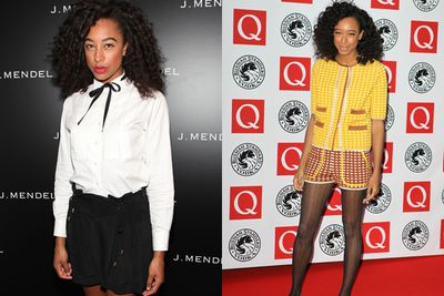 That's a bow-tie, high-necked shirt and checks....but not any old checks. Corrine Bailey Rae is so hip she pulls off mismatching checks.