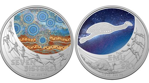 "The ""Seven Sisters"" coin on the left, and ""Emu in the Sky"" on the right."
