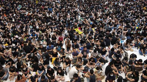 Protesters occupy the New Town Plaza shopping mall during an anti-extradition bill rally in Shatin, Hong Kong.