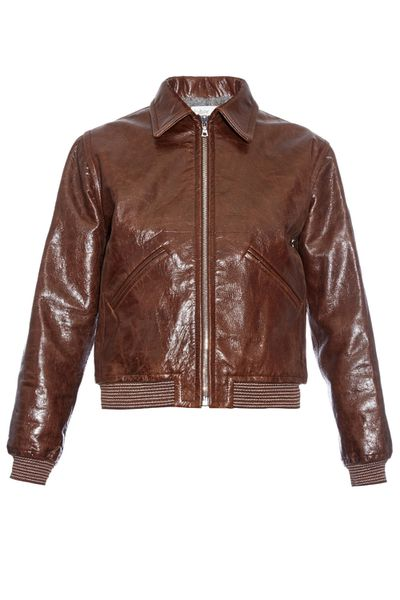 <p>We're probably going to have dreams about this cropped brown leather bomber.</p>