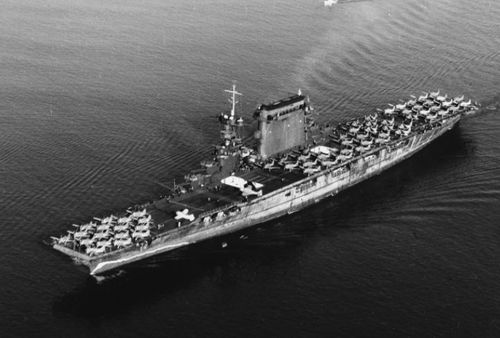 The USS Lexington sunk on May 8, 1942 after being delivered a fatal blow by another US warship so that the Japanese couldn't capture it. (Supplied)
