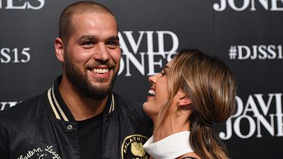 Model Jesinta Campbell's fiancé Buddy Franklin came along to the show. (AAP)