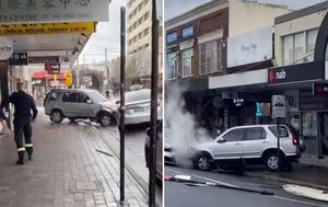 Car crashes into cafe, before hitting taxi in Eastwood in Sydney's north-west