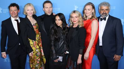 "Actors, Dominic West, from left, co-creator, executive producer and actress, Cate Blanchett, Jai Courtney, Soraya Heidari, Asher Keddie, Yvonne Strahovski and Burhan Zangana, attend the Berlinale Series Premiere for the film, ""Stateless,"" during the 2020 Berlinale Film Festival in Berlin, Germany, Wednesday, Feb. 26, 2020"