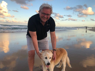 Rudd and Abby at the beach on the fur baby's 15th birthday.