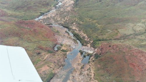 Aerial view from the Piper Cub flying over the Pilbara in Western Australia, over a unit called Marble Bar chert. A sample of the Marble Bar chert is the arrowed sample that is currently flying to Mars as a test target for the SuperCam instrument.