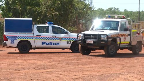 Police helped search the bushland near a power substation.