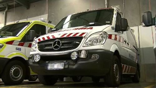 The ambulance which was rammed last night. (9NEWS)