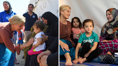 Sophie, Countess of Wessex meets with women and children in Lebanon