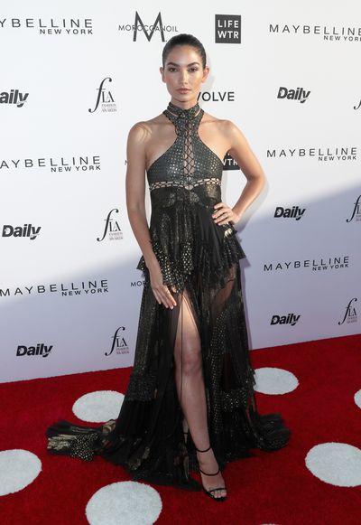 Lily Aldridge in Roberto Cavalli.