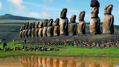 View of the Moais, the giant volcanic rock statues, at the Easter Island, South Pacific. (Photo: AAP)