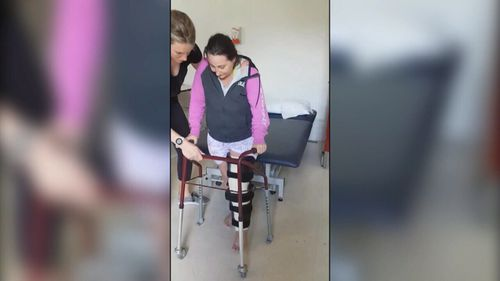 Bec Larrigan will have to re-learn how to walk.