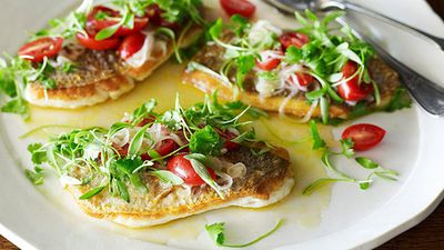 """<a href=""""http://kitchen.nine.com.au/2016/05/05/14/33/pan-seared-snapper-with-sauce-vierge"""" target=""""_top"""">Pan seared snapper with sauce vierge</a><br /> <br /> <a href=""""http://kitchen.nine.com.au/2016/11/14/15/05/easy-flash-fry-fish-recipes"""" target=""""_top"""">More flash-fry fish recipes</a>"""