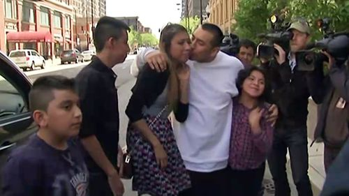 Argenis Longoria-Lara's sister and family were waiting for him when he arrived at their family church. (ABC News)