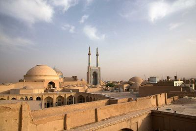 The Jameh Mosque in Yazd is a beautiful example of Persian Islamic architecture and dates back almost a thousand years. It has the highest minarets in the country (Iran, 2015).