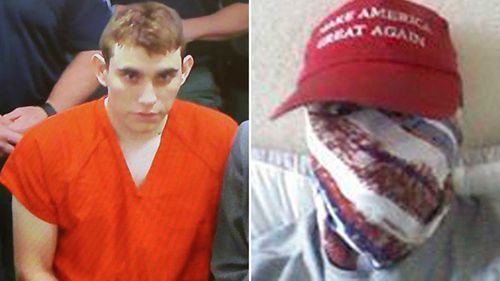 Nikolas Cruz fronting court, and sporting a 'Make America Great Again' cap in an Instagram profile photo.