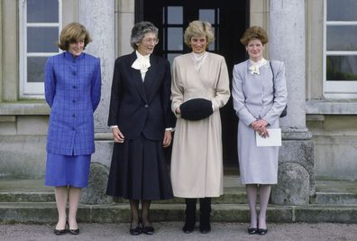 Princess Diana with her sisters, Lady Jane (far left) and Lady Sarah (far right) in 1987.