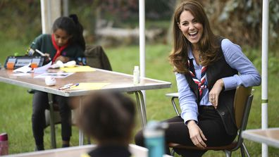 Kate, the Duchess of Cambridge joins Cubs and Beaver Scouts in outdoor activities during a visit to the 12th Northolt Scouts in West London, Tuesday September 29, 2020