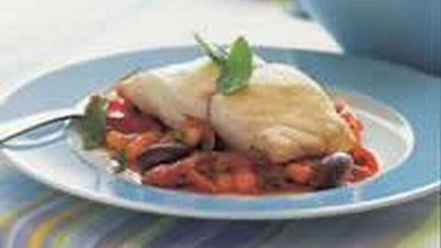 """Recipe:<a href=""""http://kitchen.nine.com.au/2016/05/18/12/55/steamed-fish-on-tomato-and-olives"""" target=""""_top"""">Steamed Fish on Tomato and Olives</a>"""