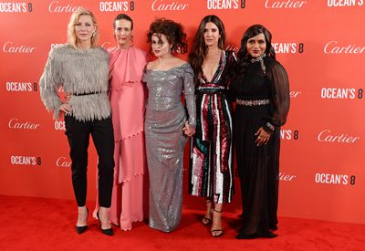 "<p>With a cast that includes <a href=""https://style.nine.com.au/2018/06/13/15/15/cate-blanchett-oceans-eight-style"" target=""_blank"">Cate Blanchett</a>, Sandra Bullock, Anne Hathaway and <a href=""https://style.nine.com.au/2018/05/23/09/39/oceans-8-movie-cast"" target=""_blank"">Rihanna </a>on the pay roll, the storyline of&nbsp;<em><a href=""https://style.nine.com.au/2018/06/13/15/15/cate-blanchett-oceans-eight-style"" target=""_blank"">Oceans 8&nbsp;</a></em>was always going to take a back seat to the style antics of the film&rsquo;s leading ladies.</p> <p>Case in point, last night&rsquo;s UK premiere of the film held at London's&nbsp;Leicester Square where the ladies went and wowed yet again.</p> <p>Owing to Rihanna in a bold glittering&nbsp;Poiret gown, Blanchett in a belted feathered top by Louis Vuitton, Sandra Bullock in a sequinned Zuhair Murad jumpsit, and Sarah Paulson in a pink layered Maison Valentino gown, the red carpet was turned into a couture catwalk of epic proportions.&nbsp;&nbsp;<br /> <br /> Click through to see all the fashion highlights of the <em>Oceans 8</em> UK premiere, and a look at their equally head turning looks from the film's New York premiere last week.<br /> <br /> </p>"