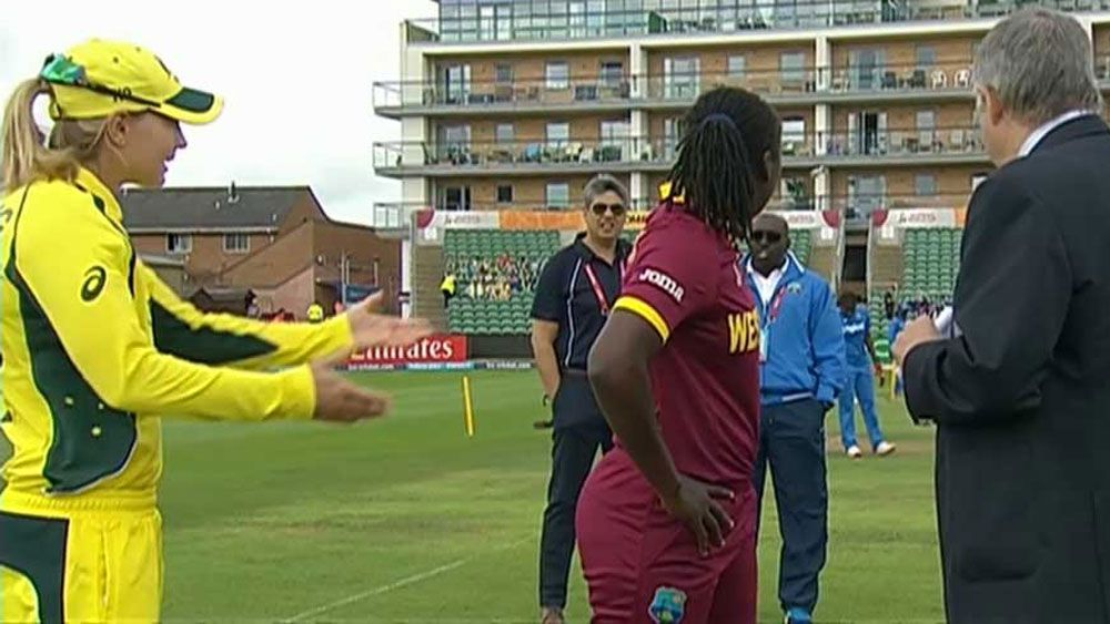 Confusion reigns at coin toss for Australia's opening women's World Cup match against West Indies