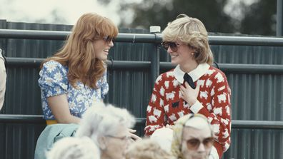 Diana, Princess of Wales with Sarah Ferguson at the Guard's Polo Club in 1983. Picture: Getty