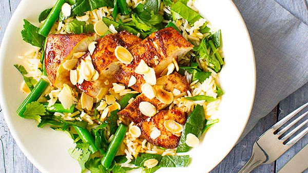 Chinese chicken with green rice and sesame sweet soy dressing