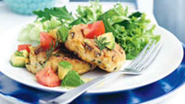 Salmon patties with avocado and dill salsa