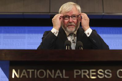 Former Prime Minister Kevin Rudd during his address to the National Press Club of Australia in Canberra on Tuesday 9 March 2021. fedpol Photo: Alex Ellinghausen