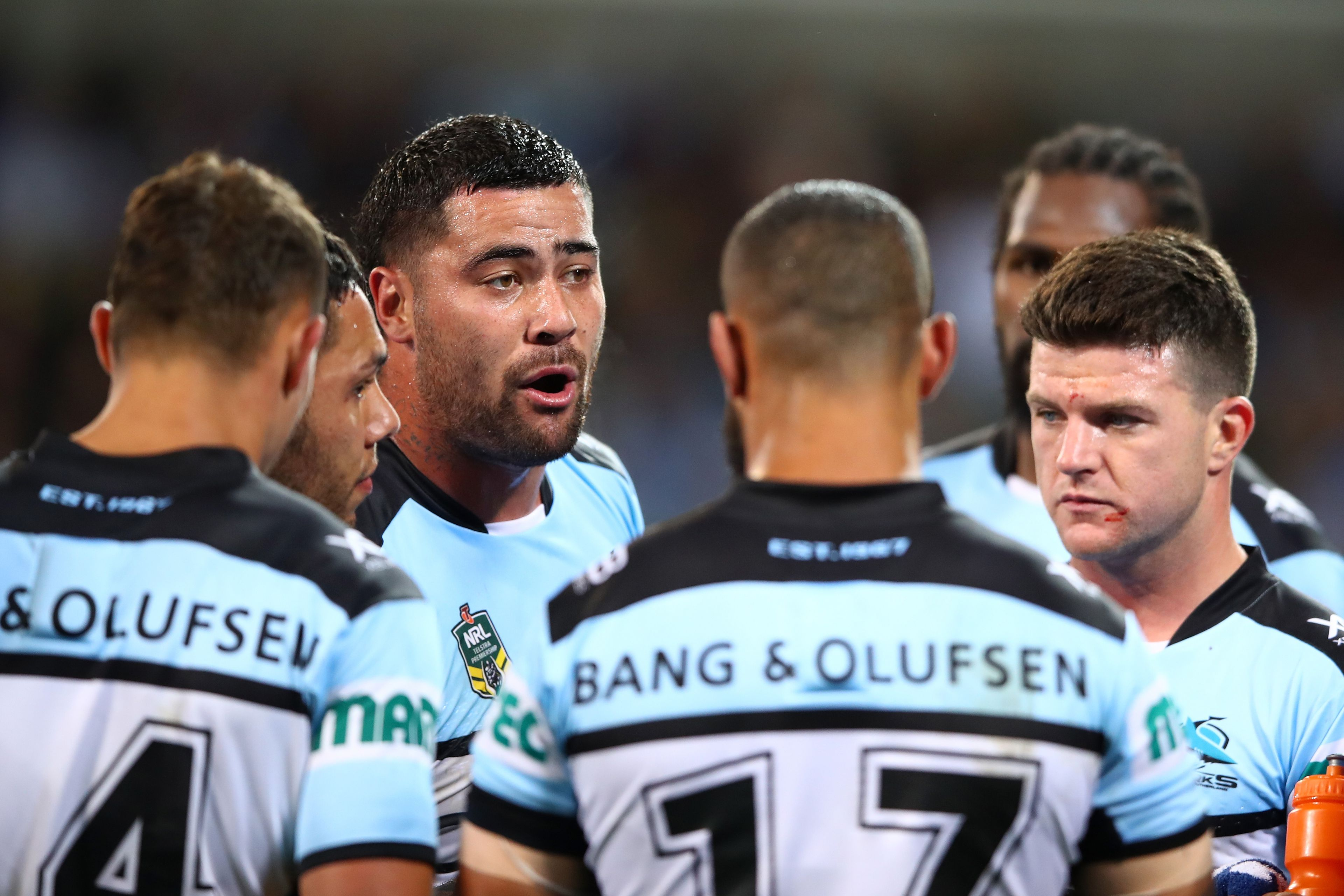 Cronulla Sharks react after conceding a try.