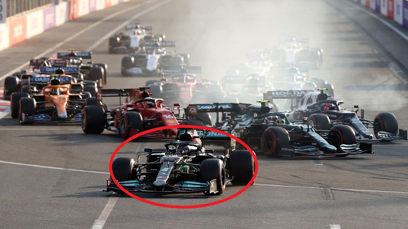 Lewis Hamilton is forced down the escape road at the Azerbaijan Grand Prix.