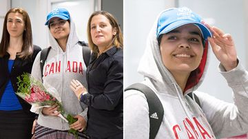 An 18-year-old Saudi runaway who said she was abused and feared death if deported back home arrived in Canada today arm-in-arm with the country's foreign minister.