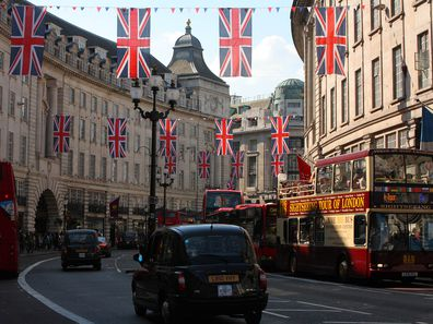 Union Jack Flags in London ahead of the 2011 Royal Wedding