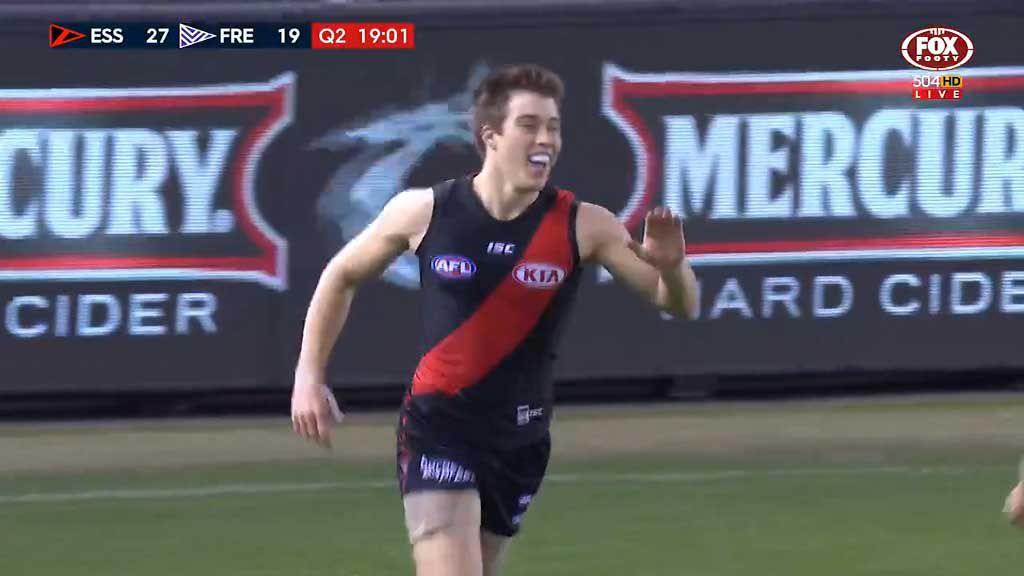 Merrett goes bang bang for the Bombers