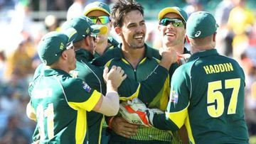 Mitchell Johnson celebrates taking the wicket of England captain Eoin Morgan during the Final of the One Day International Tri-Series between Australia and England at the WACA, Perth. (AAP)