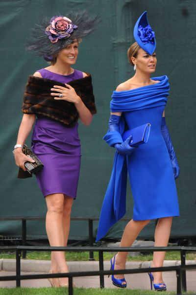 Tara Palmer-Tomkinson (R) and her sister Santa Sebag-Montefiore (L) attend the Royal Wedding of Prince William to Catherine Middleton, 2011