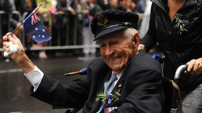 Ex-servicemen during the Anzac Day march in Sydney. (AAP)