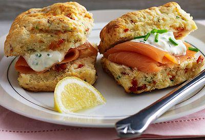 Sun-dried tomato scones with salmon