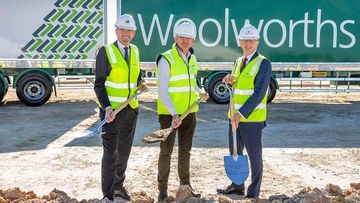 Brad Banducci, CEO - Woolworths Group, with NSW Treasurer Dominic Perrottet MP and Hon Paul Fletcher MP.