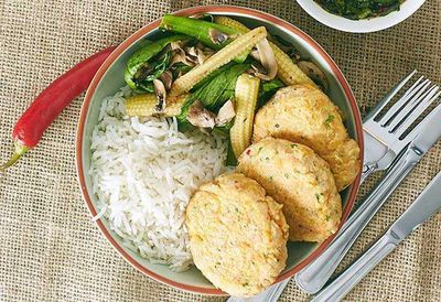 """Recipe: <a href=""""http://kitchen.nine.com.au/2016/05/05/13/38/zoe-bingleypullins-thai-fish-cakes-and-stirfry-vegetables-with-dipping-sauce"""" target=""""_top"""">Zoe Bingley-Pullin's Thai fish cakes and stir-fry vegetables with dipping sauce</a>"""