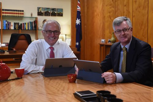 Malcolm Turnbull and his department boss Martin Parkinson. (AAP)
