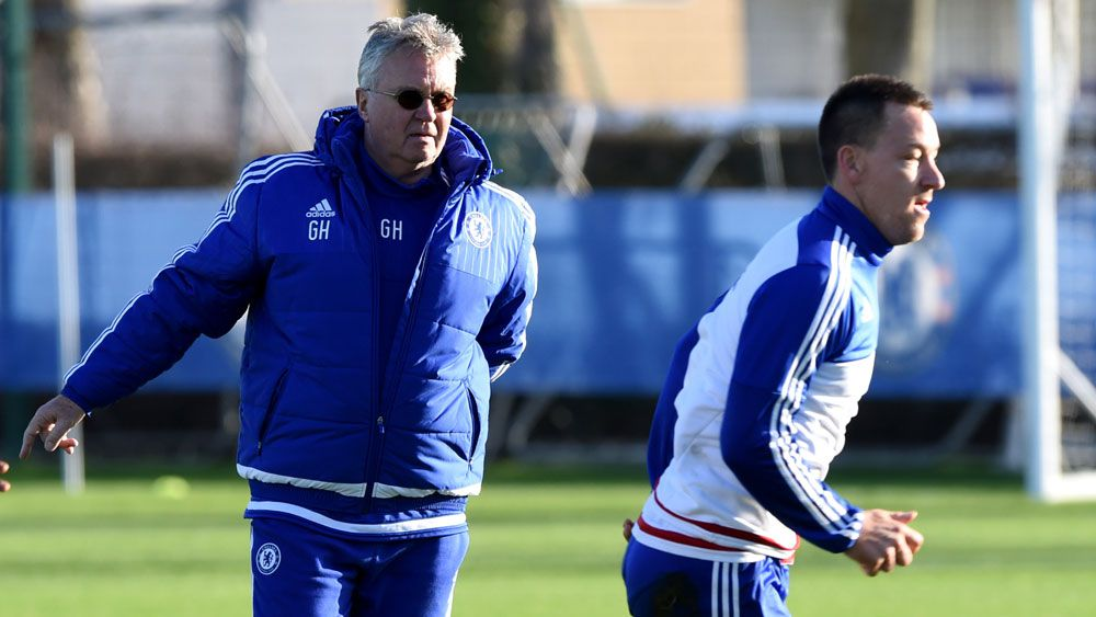 Guus Hiddink (l) and John Terry. (AAP)