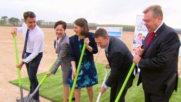 NSW Premier Gladys Berejiklian (centre) at the Kemps Creek site today. (9NEWS)